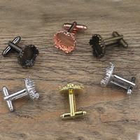 Manschettenknöpfe-Ergebnisse, Messing, flache Runde, plattiert, keine, frei von Nickel, Blei & Kadmium, 12-15mm, Innendurchmesser:ca. 15mm, 20PCs/Tasche, verkauft von Tasche