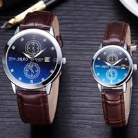 PU Leder Armbanduhr, mit Zinklegierung Zifferblatt & Glas & Edelstahl, Platinfarbe platiniert, unisex & einstellbar & verschiedene Größen vorhanden & mit Strass, keine, frei von Nickel, Blei & Kadmium, verkauft von PC