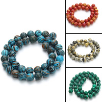 Malachit Perle, rund, verschiedene Größen vorhanden, keine, verkauft von Strang