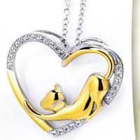 Kubischer Zirkon Micro Pave Sterling Silber Halskette, 925 Sterling Silber, Herz, plattiert, Oval-Kette & Micro pave Zirkonia & für Frau, 21.20x25mm, verkauft per ca. 18 ZollInch Strang