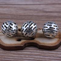 Zinklegierung hohle Perlen, rund, antik silberfarben plattiert, frei von Blei & Kadmium, 10x10mm, Bohrung:ca. 2mm, 10PCs/Tasche, verkauft von Tasche