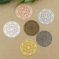 Messing Cabochon, flache Runde, plattiert, keine, frei von Nickel, Blei & Kadmium, 41mm, 10PCs/Tasche, verkauft von Tasche