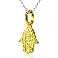 Sterling Silber Halsketten, 925 Sterling Silber, Hamsa, plattiert, Oval-Kette & für Frau & zweifarbig, 8x16mm, 1.2mm, verkauft per ca. 18 ZollInch Strang