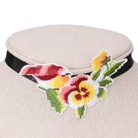 Stickerei Choker, Stoff, mit Zinklegierung, mit Verlängerungskettchen von 5cm, Blume, farbenfroh, 60mm, verkauft per ca. 12 ZollInch Strang