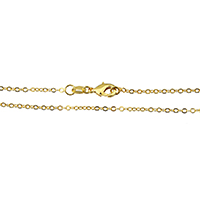 Messingkette Halskette, Messing, vergoldet, Hohe Qualität überzogen und verblassen nie & Oval-Kette, frei von Nickel, Blei & Kadmium, 2x1.50x0.10mm, Länge:ca. 18 ZollInch, 10SträngeStrang/Menge, verkauft von Menge
