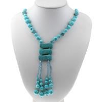 Sweater Türkis Halskette, Synthetische Türkis, mit Glasperlen, für Frau, 31x12x7mm, Länge:ca. 25 ZollInch, 10SträngeStrang/Tasche, verkauft von Tasche
