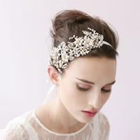 Braut Haarband, Zinklegierung, mit PVC-Schaum & Satinband, goldfarben plattiert, für Braut & mit Strass, frei von Blei & Kadmium, 120-140mm, verkauft von PC