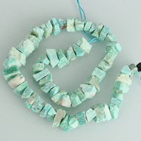 Amazonit Perlen, natürlich, grün, 8-17x5-14x6-18mm, Bohrung:ca. 1-3mm, Länge:ca. 16 ZollInch, 5SträngeStrang/Menge, ca. 46PCs/Strang, verkauft von Menge