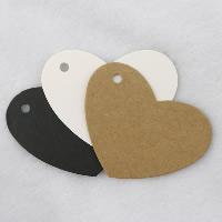 Kraftpapier Label- Tag, Herz, keine, 65x50mm, 100PCs/Menge, verkauft von Menge