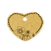 Kraftpapier Herz, mit Blumenmuster, 50x45mm, 100PCs/Menge, verkauft von Menge