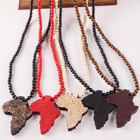 Pullover Kette Halskette, Holz, Landkarte, keine, 65x85x10mm, 8mm, verkauft per ca. 40 ZollInch Strang