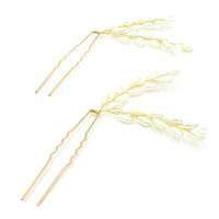 Zinklegierung Haar Stöcke, mit ABS-Kunststoff-Perlen, goldfarben plattiert, für Braut, frei von Blei & Kadmium, 60x120mm, verkauft von PC