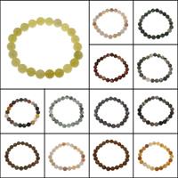 Glasperlen Armband, Edelstein, rund, verschiedenen Materialien für die Wahl & unisex, 8mm, verkauft per ca. 7 ZollInch Strang