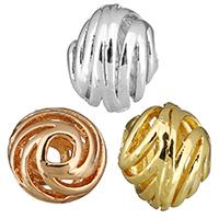 Messing hohle Perlen, Trommel, plattiert, verschiedene Größen vorhanden, keine, frei von Nickel, Blei & Kadmium, Bohrung:ca. 2mm, 50PCs/Menge, verkauft von Menge