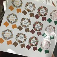 Aufkleberpapier, Papier, verschiedene Muster für Wahl & mit Brief Muster, gemischte Farben, 28x34mm, 10SetsSatz/Tasche, ca. 12PCs/setzen, verkauft von Tasche