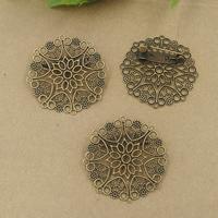 Messing Brosche Zubehör, mit Eisen, Blume, antike Bronzefarbe plattiert, frei von Nickel, Blei & Kadmium, 20x30mm, 50PCs/Tasche, verkauft von Tasche