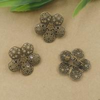 Messing Brosche Zubehör, mit Eisen, Blume, antike Bronzefarbe plattiert, frei von Nickel, Blei & Kadmium, 15x26mm, 20PCs/Tasche, verkauft von Tasche