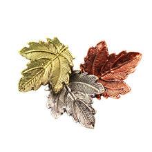 Zinklegierung Broschen, Blatt, plattiert, gemischte Farben, frei von Blei & Kadmium, 55mm, 3PCs/Tasche, verkauft von Tasche