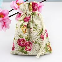 Schmuck Kordelzugbeutel, Baumwollgewebe, mit Nylonschnur, Rechteck, mit Blumenmuster, 100x140mm, 50PCs/Menge, verkauft von Menge