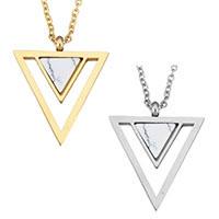 Mode Türkis Halskette, Edelstahl, mit Synthetische Türkis, mit Verlängerungskettchen von 2lnch, Dreieck, plattiert, Oval-Kette & für Frau, keine, 19.5x23mm, 1.5mm, verkauft per ca. 18 ZollInch Strang