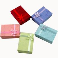 Karton Schmucksetkasten, Fingerring & Ohrring & Halskette, mit Satinband, gemischt, 48x65mm, 16PCs/Tasche, verkauft von Tasche