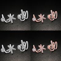 Moderne Ohr Manschette, Messing, Blume, plattiert, Micro pave Zirkonia, keine, frei von Blei & Kadmium, 12x17mm, verkauft von Paar