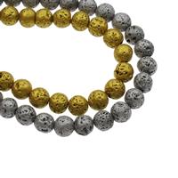 Natürliche Lava Perlen, rund, Spritzlackierung, verschiedene Größen vorhanden, Bohrung:ca. 1mm, ca. 47PCs/Strang, verkauft per ca. 14.5 ZollInch Strang