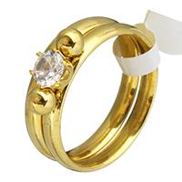 Edelstahl Ring Set, Anhänger & Ohrring, mit Kristall, goldfarben plattiert, verschiedene Größen vorhanden & für Frau, 12.5x5mm, 3mm, 2PCs/setzen, verkauft von setzen