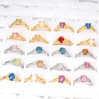 Kristall Fingerring, Zinklegierung, mit Kristall, plattiert, für Frau & facettierte, keine, frei von Blei & Kadmium, 18x22x8mm-21x25x8mm, Größe:5-8.5, 100PCs/Tasche, verkauft von Tasche