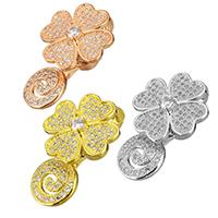 Messing Magnetverschluss, Blume, plattiert, Micro pave Zirkonia, keine, frei von Nickel, Blei & Kadmium, 17x28x13mm, Bohrung:ca. 6x5mm, 5PCs/Menge, verkauft von Menge