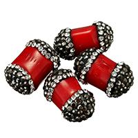 Natürliche Korallen Perlen, Lehm pflastern, mit Natürliche Koralle, mit Strass & gemischt, rot, 11-13x18-20x11-14mm, Bohrung:ca. 1mm, 10PCs/Tasche, verkauft von Tasche