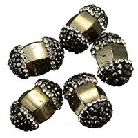 Goldene Pyrit Perlen, Lehm pflastern, mit Pyrit, mit Strass & gemischt, 11-13x18-19x11-13mm, Bohrung:ca. 1mm, 10PCs/Tasche, verkauft von Tasche
