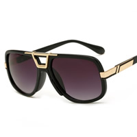 Art- und WeiseSonnenbrillen , PC Kunststoff, mit PC Kunststofflinse & Zinklegierung, KC goldfarben plattiert, unisex, keine, 145x48x138mm, verkauft von PC