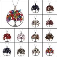 Baum des Lebens-Halskette, Messing, mit Edelstein, antik silberfarben plattiert, verschiedenen Materialien für die Wahl & Kugelkette & für Frau, frei von Blei & Kadmium, 34x37x5mm, verkauft per ca. 22 ZollInch Strang