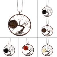 Baum des Lebens-Halskette, Messing, mit Edelstein, plattiert, verschiedenen Materialien für die Wahl & Kugelkette & für Frau, frei von Blei & Kadmium, 50x55x8mm, verkauft per ca. 22 ZollInch Strang