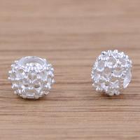 Messing hohle Perlen, Trommel, versilbert, frei von Blei & Kadmium, 5.8x7.3mm, Bohrung:ca. 3mm, verkauft von PC