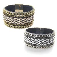 Mode Samtschnur Armbänder, Baumwollsamt, mit Zinklegierung, plattiert, gewebte Muster & für Frau, keine, 35mm, verkauft per ca. 7.5 ZollInch Strang