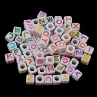 Alphabet Acryl Perlen, Quadrat, verschiedene Muster für Wahl & Emaille, 7x7mm, Bohrung:ca. 4mm, ca. 550PCs/Tasche, verkauft von Tasche