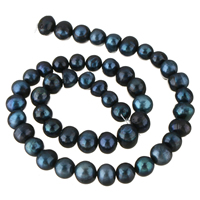 Natürliche Süßwasser, lose Perlen, Natürliche kultivierte Süßwasserperlen, schwarz, 8-9mm, Bohrung:ca. 0.8mm, verkauft per ca. 14.5 ZollInch Strang