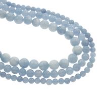 Aquamarin Perle, rund, natürlich, März Birthstone & verschiedene Größen vorhanden, Bohrung:ca. 1mm, verkauft per ca. 15.5 ZollInch Strang