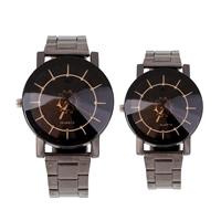 Ehepaar Uhrenarmbänder, Zinklegierung, plattiert, mit Brief Muster & für paar, frei von Blei & Kadmium, 42x47x10mm, 35x40x10mm, Länge:ca. 7.5 ZollInch, verkauft von setzen