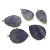 blauer Punkt Schmuckverbinder, mit Zinklegierung, Tropfen, goldfarben plattiert, 1/1-Schleife, 25x55x8mm-40x60x8mm, Bohrung:ca. 2mm, verkauft von PC
