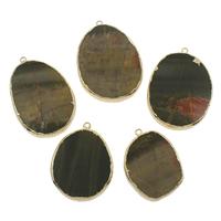 Unakit Anhänger, Unakite, mit Zinklegierung, flache Runde, goldfarben plattiert, 35x50x6mm-45x65x7mm, Bohrung:ca. 2mm, verkauft von PC