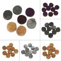 Natürliche Eis Quarz Achat Perlen, Eisquarz Achat, flache Runde, druzy Stil & halbgebohrt, keine, 15x4mm-17x8mm, Bohrung:ca. 1mm, verkauft von PC