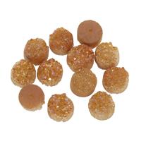 Eisquarz Achat Ohrring-Bolzen -Komponente, flache Runde, druzy Stil, goldfarben, 10x7mm, Bohrung:ca. 1mm, verkauft von PC