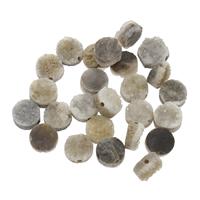 Natürliche Eis Quarz Achat Perlen, Eisquarz Achat, mit Zinklegierung, flache Runde, plattiert, druzy Stil, 8x4mm-9x5mm, Bohrung:ca. 1mm, ca. 5PCs/Tasche, verkauft von Tasche