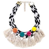 Mode-Fringe-Halskette, Baumwolle, mit Plüsch & Zinklegierung, mit Verlängerungskettchen von 3.1Inch, goldfarben plattiert, für Frau, frei von Nickel, Blei & Kadmium, 90mm, verkauft per ca. 15.3 ZollInch Strang