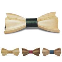 Unisex-Fliege, Holz, mit Baumwollgewebe & PU Leder, verschiedene Stile für Wahl, 120x60mm, verkauft von PC