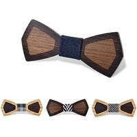 Unisex-Fliege, Holz, mit Baumwollgewebe & PU Leder, verschiedene Muster für Wahl, 120x50mm, verkauft von PC