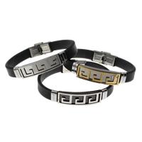 Unisex-Armband & Bangle, Edelstahl, mit Silikon, plattiert, keine, 39x12x9mm, verkauft per ca. 7.5 ZollInch Strang